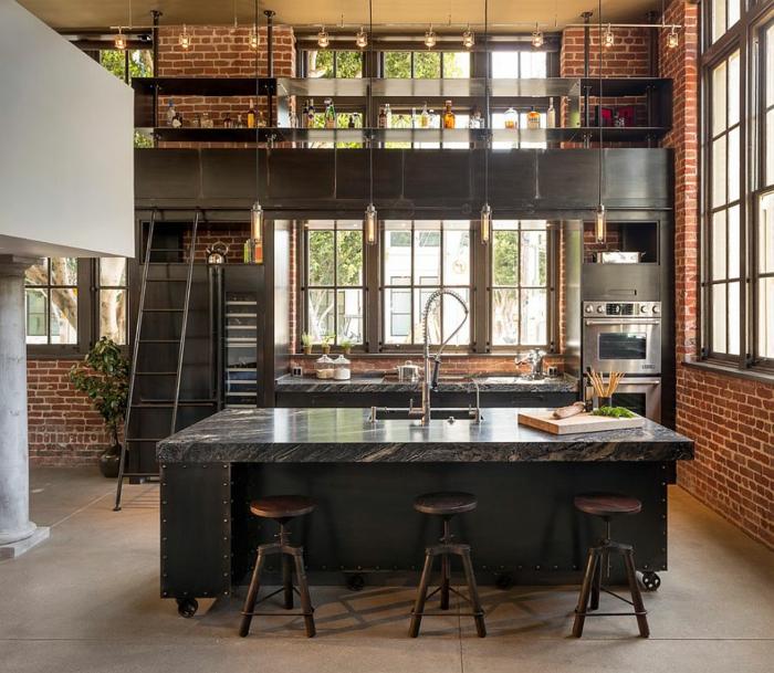 kücheneinrichtung industriell rote ziegel barhocker kücheninsel