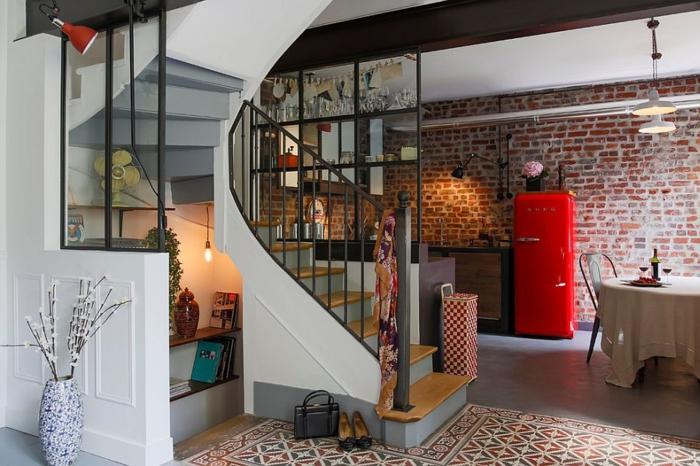 kücheneinrichtung industriell vintage kühlschrank rot