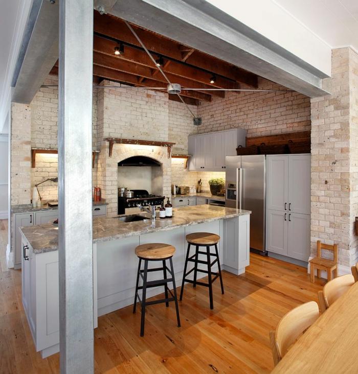 küchendesign industriell ziegel helle küchenschränke