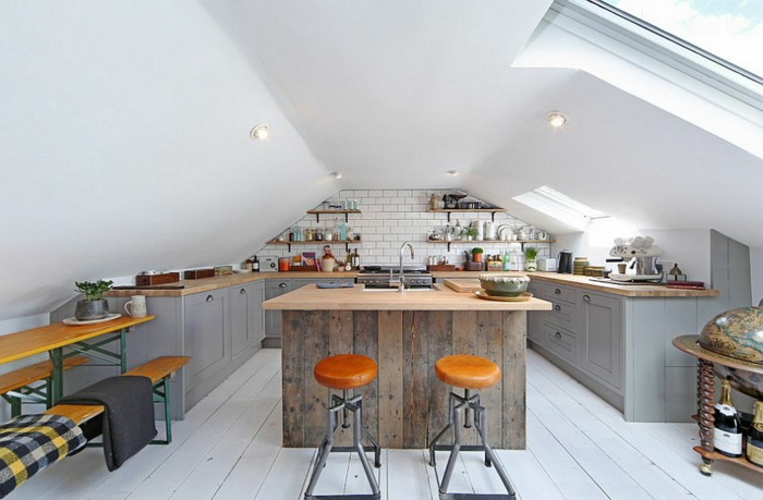 kücheneinrichtung industrielle küche dachschräge einbauleuchten