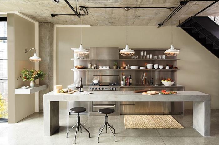 küchendesign industrielle küche kücheninsel beton