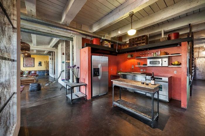 kücheneinrichtung industrieller stil farbige akzente setzen