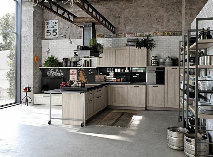 kücheneinrichtung industrieller stil geräumig grau beige
