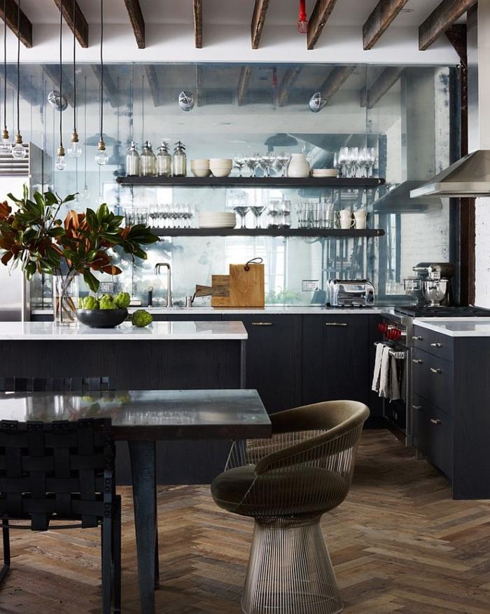 kücheneinrichtung küche esszimmer industrieller look