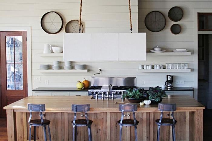 kücheneinrichtung kücheninsel coole wandgestaltung wanddeko offene regale