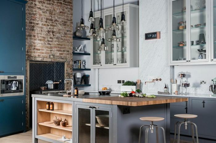 kücheneinrichtung kücheninsel grau weiß