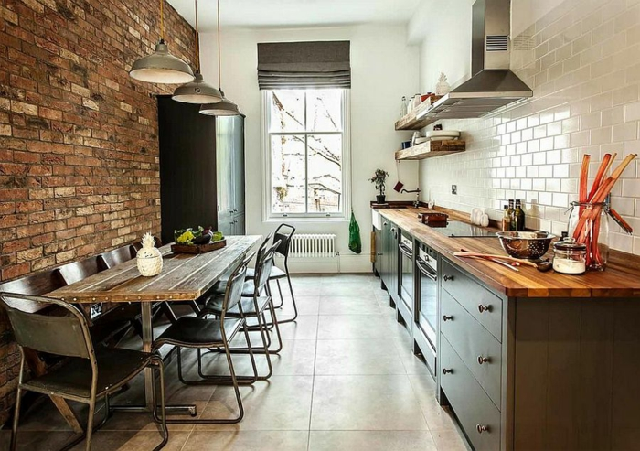 kücheneinrichtung kleine küche einrichten ziegel wandfliesen