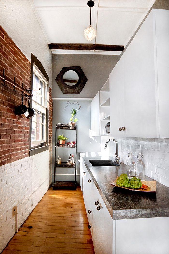 kücheneinrichtung kleine küche industrieller look zigelwand