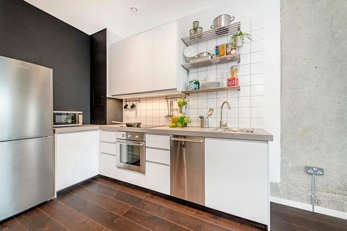 kücheneinrichtung kleiner raum industrieller look offene wadregale