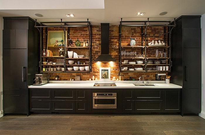 kücheneinrichtung kleiner raum offene wandregale regalsystem industriell