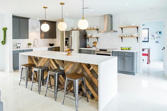 kücheneinrichtung moderne industrielle küche weiß kücheninsel