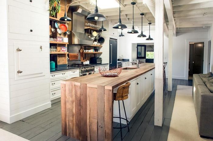 kücheneinrichtung offene regale pendelleuchten kücheninsel industriell