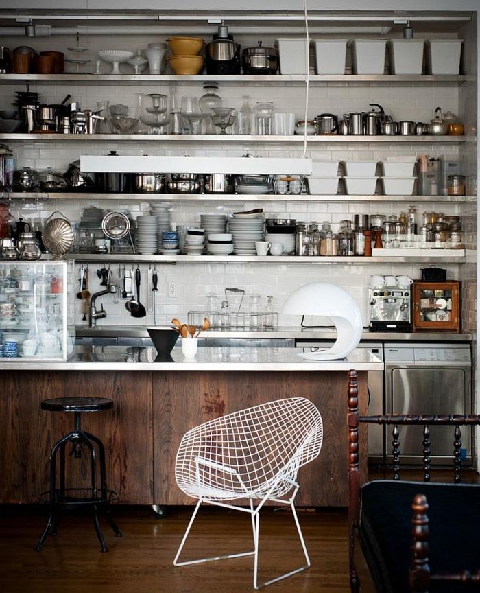 kücheneinrichtung offene regale verkörpern industriellen stil