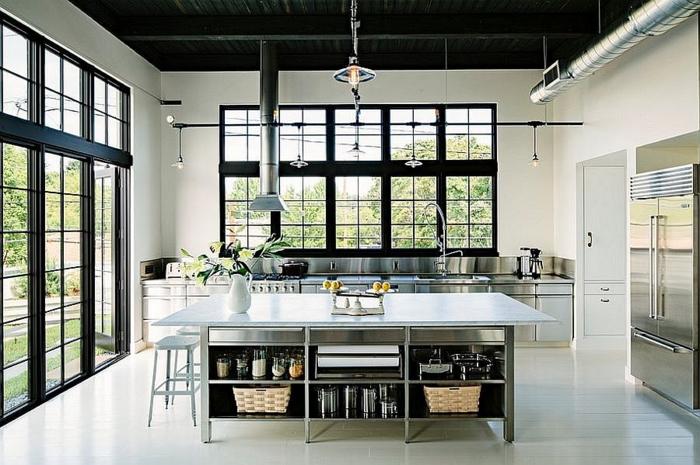 kücheneinrichtung rostsichere küchenschränke tolle kücheninsel schwarze decke