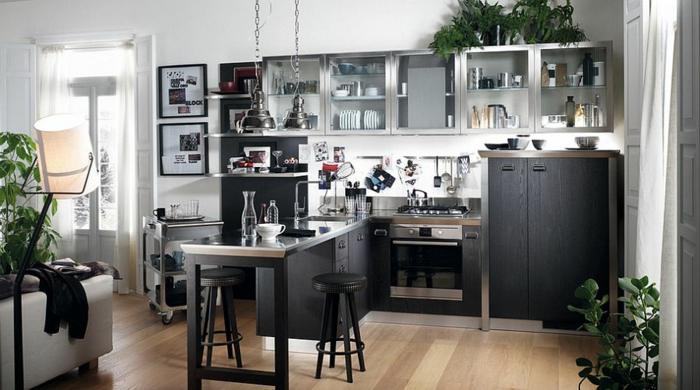 kücheneinrichtung schicke industrielle küche pflanzen