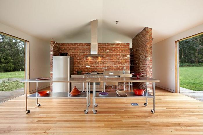 kücheneinrichtung ziegel heller boden industriell