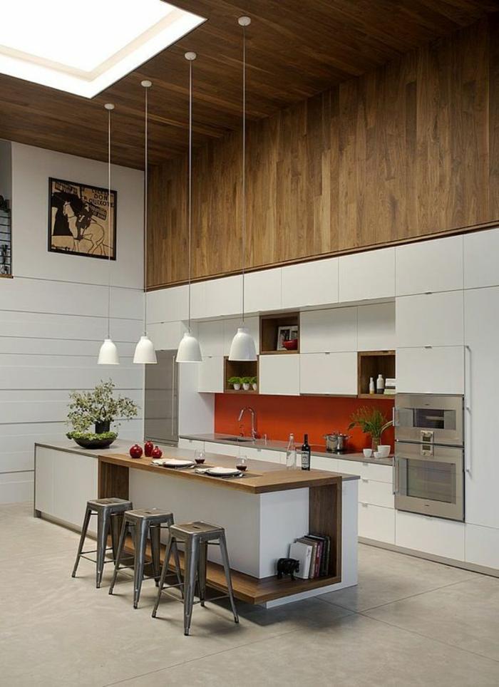 küchengestaltung frische farben pflanzen orange küchenrückwand