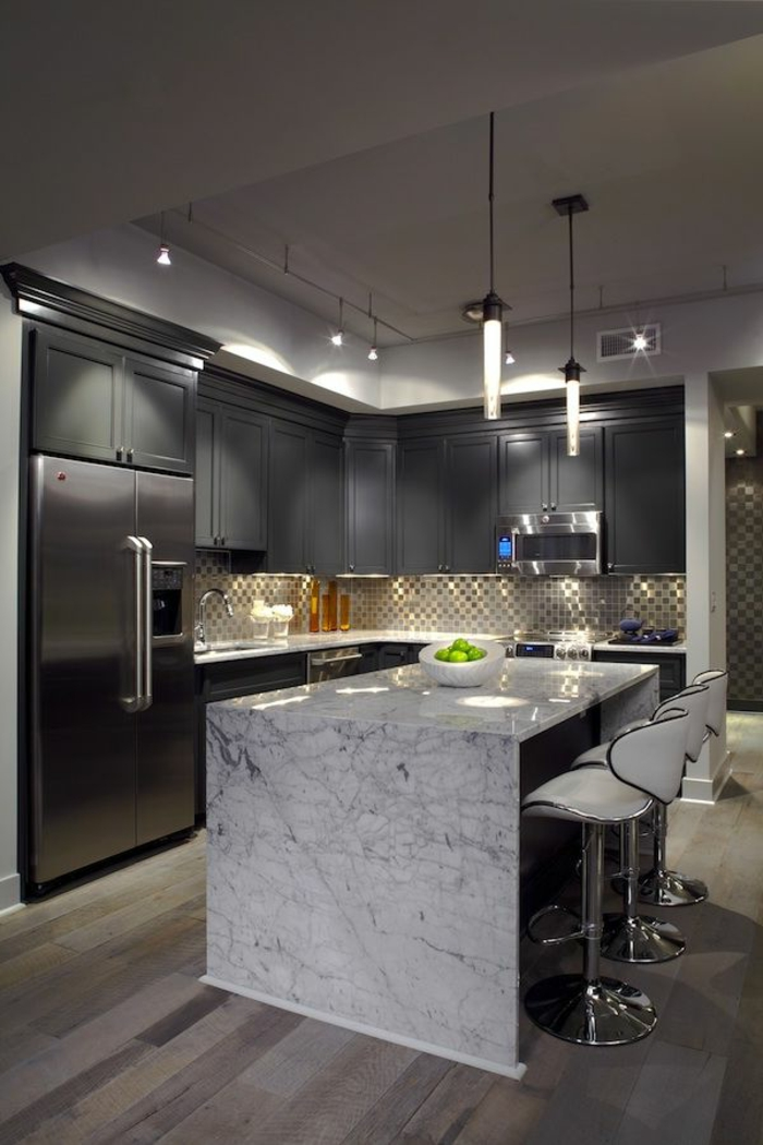 küchengestaltung ideen kücheninsel marmor mosaikfliesen