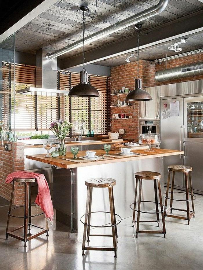 küchengestaltung kücheninsel ziegelwände