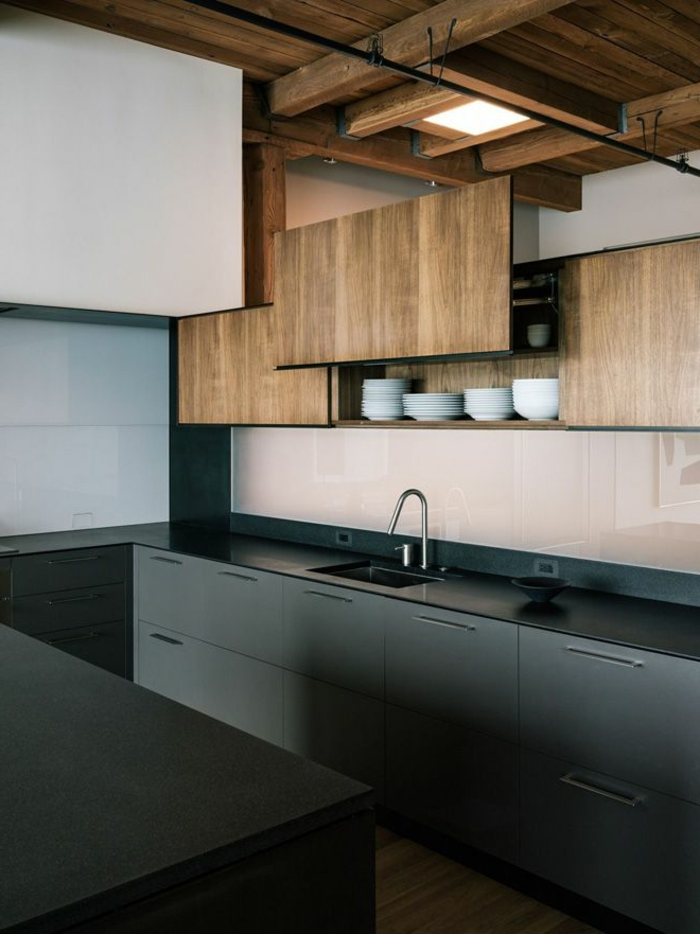 küchengestaltung schwarze einrichtung tolle küchenschränke