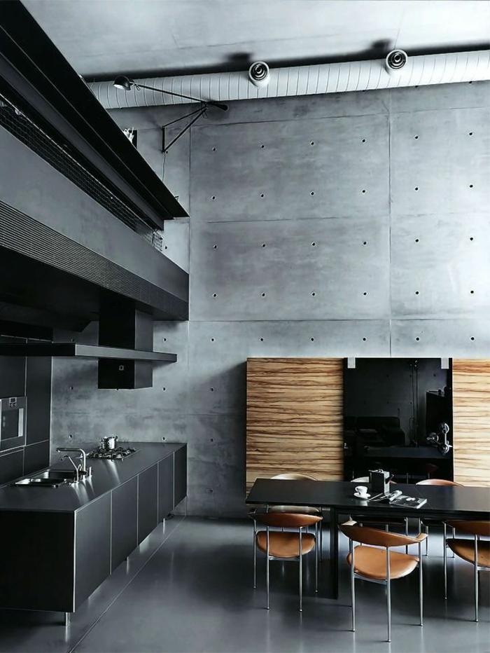 küchengestaltung stilvoll texturen esstisch
