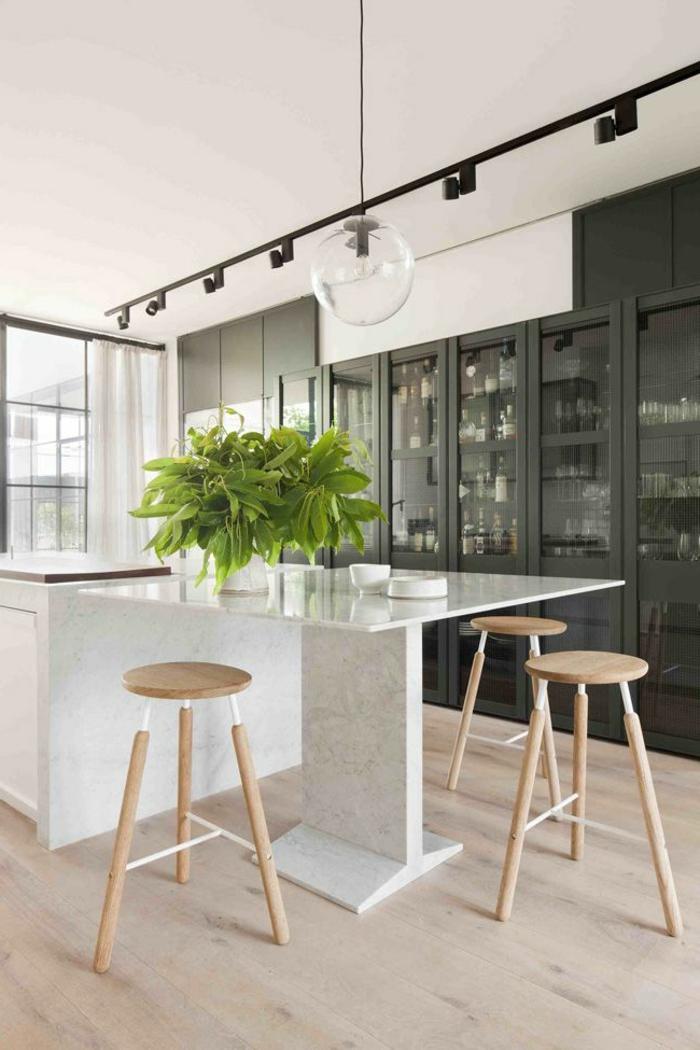 küchengestaltung tolle kücheninsel küchentisch pflanzen
