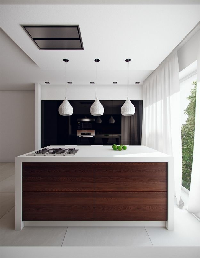 küchengestaltung weiße hängelampen deckenbeleuchtung kücheninsel