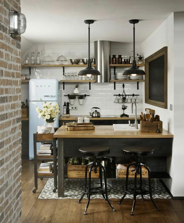 küchengestaltung weiße wandfliesen retro stil