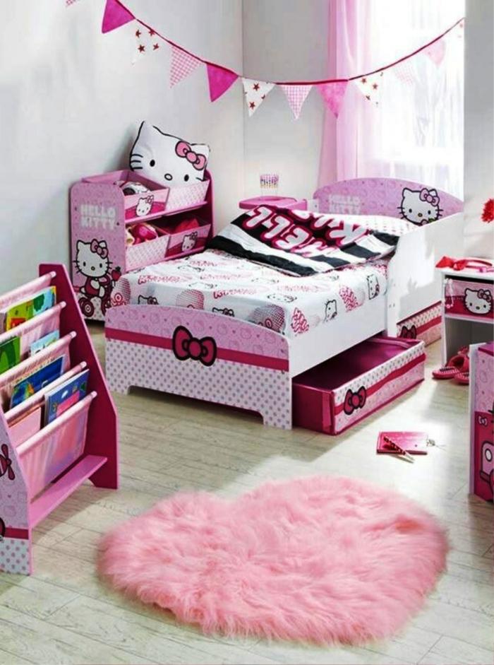 kinderteppich herz rosa mädchenzimmer gestalten