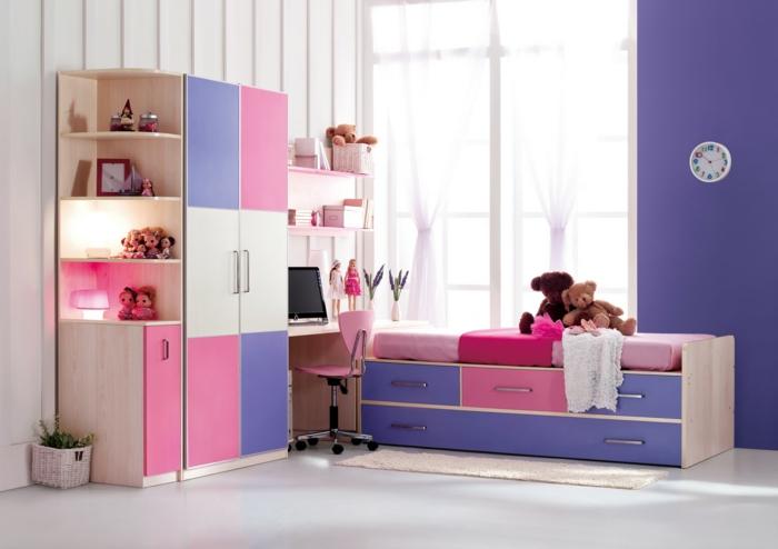 kinderzimmer gestalten frisches design bunte möbel wanduhr