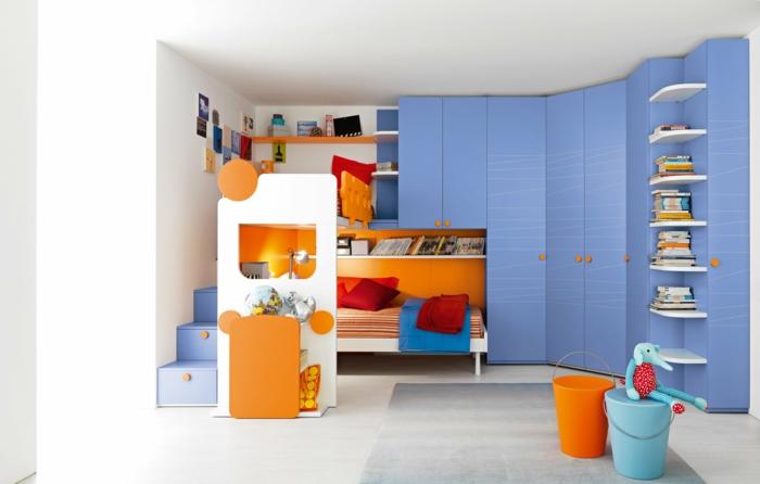 kinderzimmer gestalten funktionale möbel blauer eckschrank