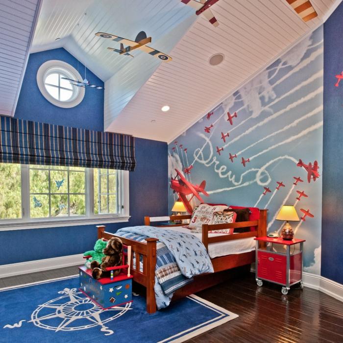 kinderzimmer gestalten jungenzimmer raffrollo schöne wandgestaltung