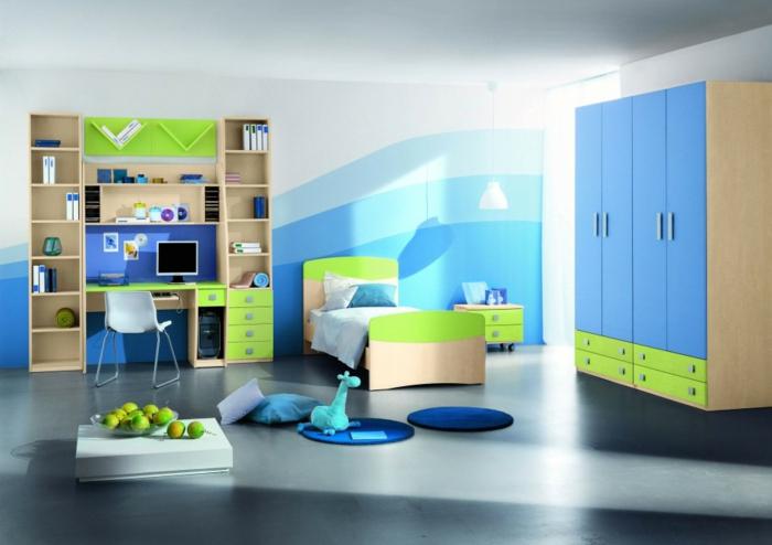 kinderzimmer gestalten möbel grün blau