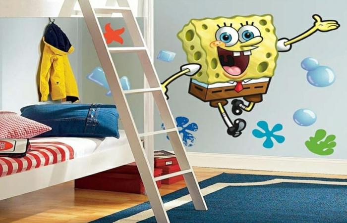 kinderzimmer teppich blau weiß hochbett coole wandsticker