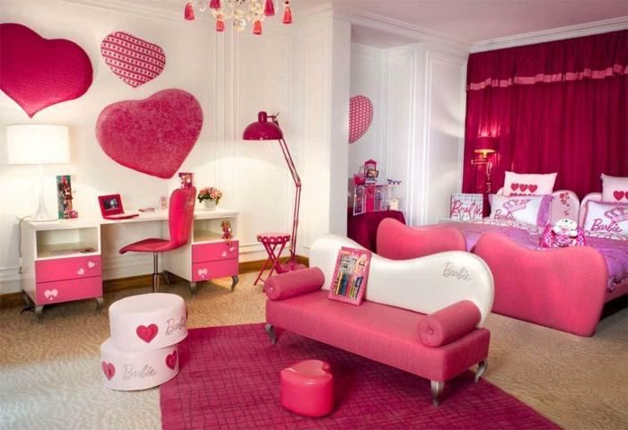 kinderzimmer teppich rosa mädchenzimmer rote gardinen