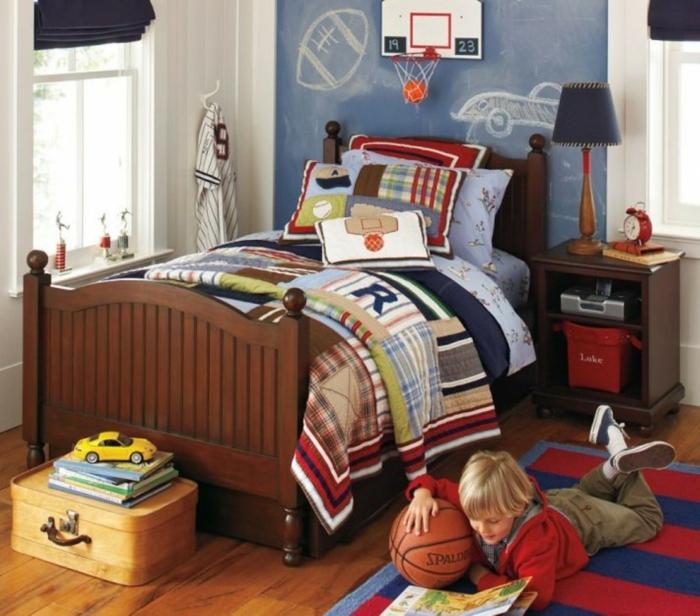 kinderzimmer teppich streifen rot blau jungenzimmer gestalten