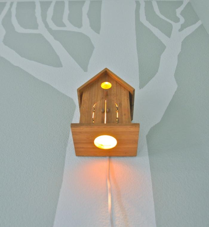 kinderzimmerlampen vögelhaus design kreative wandgestaltung