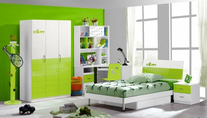 kinderzimmermöbel design grüne akzentwand