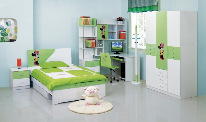 kinderzimmermöbel design grüne wandfarbe kurze gardinen