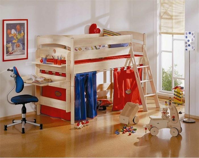 kinderzimmermöbel kinderspielbett raffrollo farbige elemente