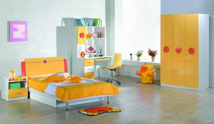 kinderzimmermöbel orange akzente frische wandfarben