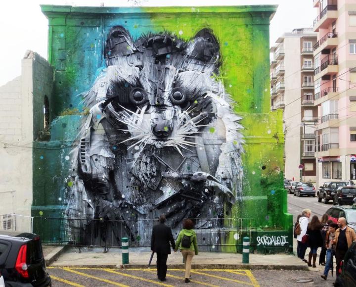 kunst aus müll Bordalo Segundo recycling kunst waschbär