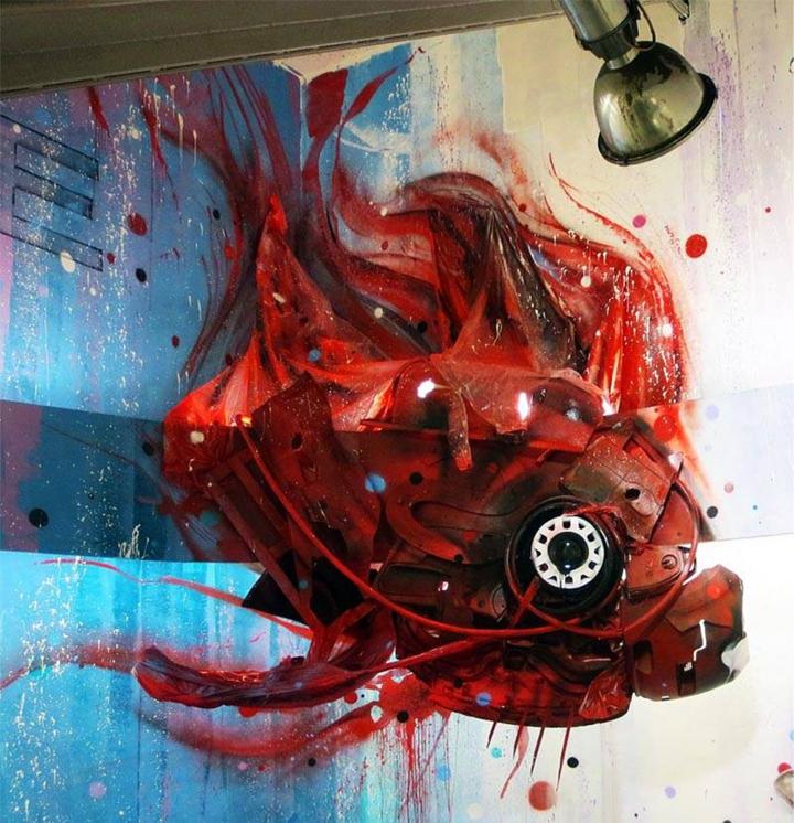 kunst aus müll streetart künstler Bordalo Segundo fisch