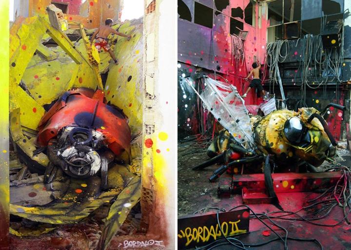kunst aus müll streetart künstler Bordalo Segundo insekten