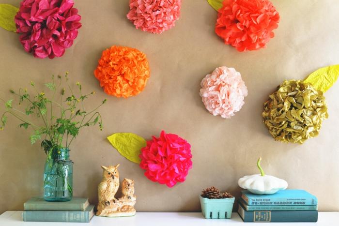 kunstblumen papierblumen bunt wanddekoration