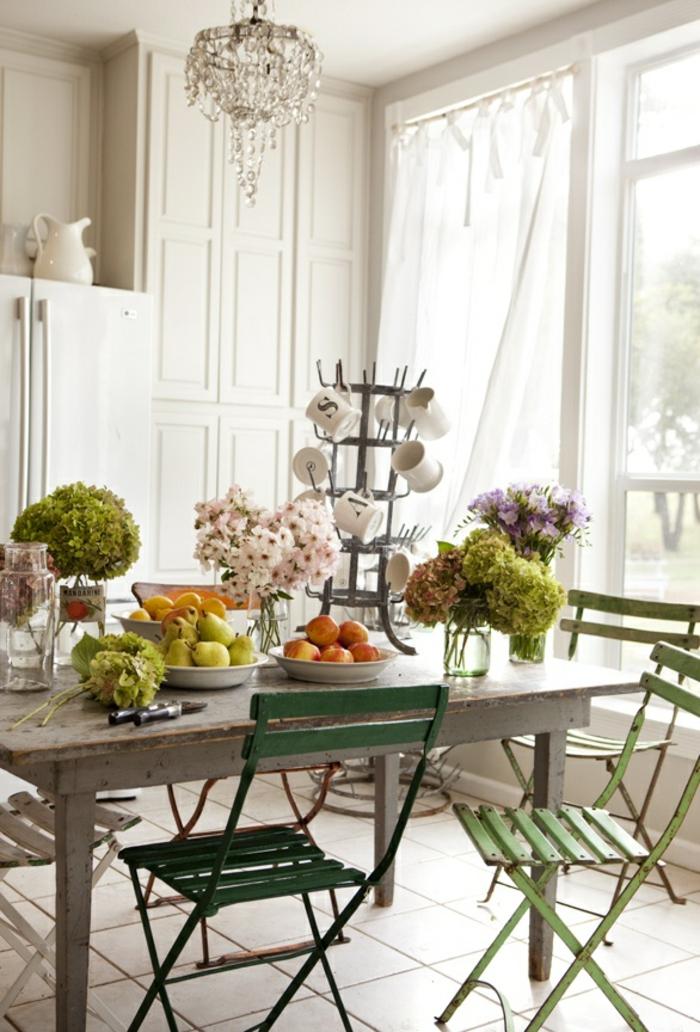 landhausstil möbel esszimmer esstisch stühle tolle tischdeko