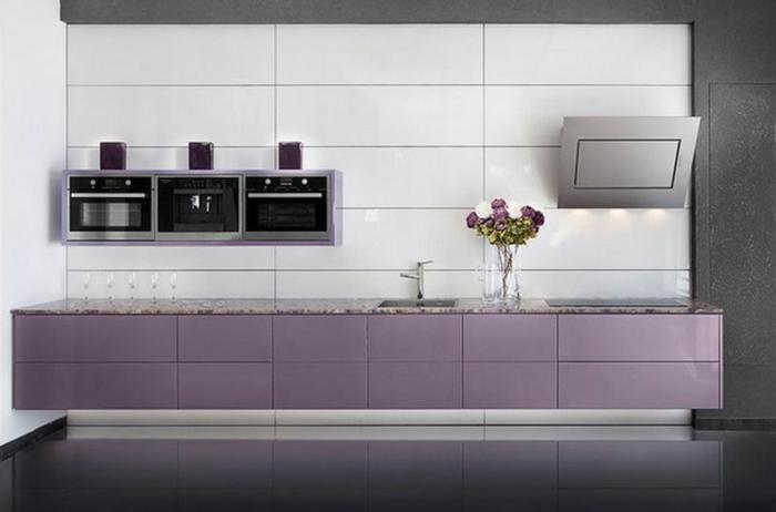 lavendel farbe küche modern unterschränke