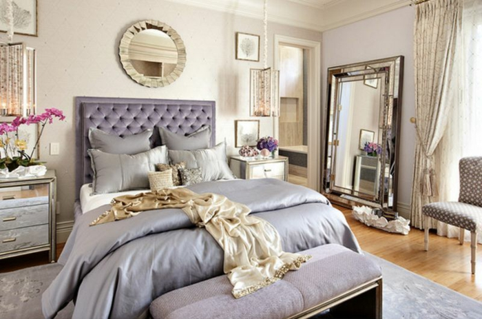 lavendel farbe pastellfarbe schlafzimmer kopfteil