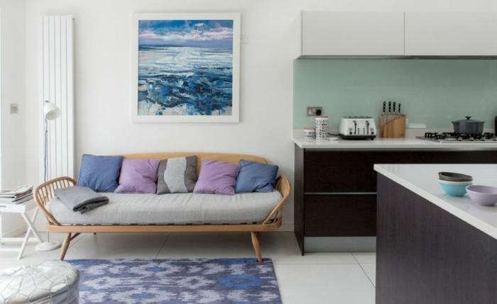 lavendel farbe wohnzimmer küche kissen
