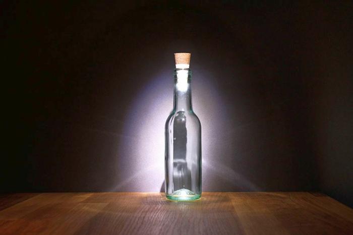 led leuchte durchsichtige flasche flaschendeckel